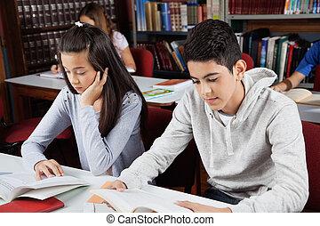 étudier, bibliothèque, écoliers
