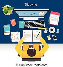 étudier, concept, illustration., plat, conception,...