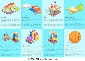 étudier, dédié, ensemble, école, affiches
