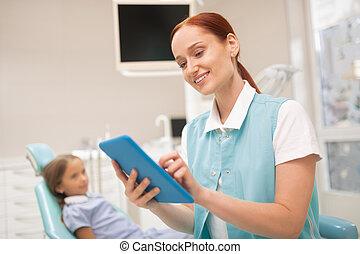étudier, dentiste, enregistrement, quoique, clinique, enfant, sourire