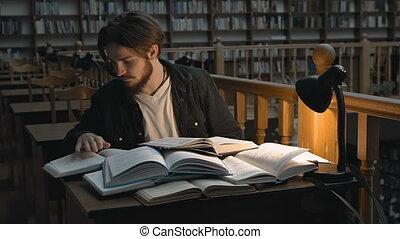 étudier, dur, bibliothèque