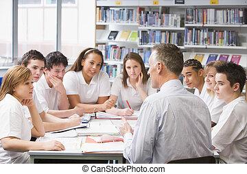étudier, eduquer enseignant, bibliothèque, écoliers