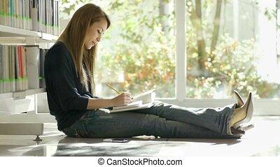 étudier, girl, bibliothèque, plancher