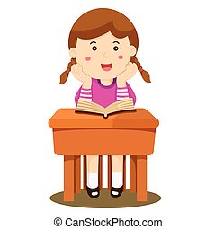 étudier, girl, illustrateur, cla