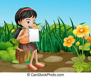étudier, girl, jardin