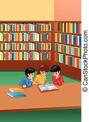 étudier, gosses, bibliothèque, illustration