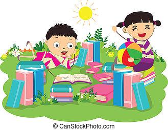 étudier, gosses, livre