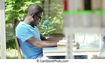 étudier, groupe, bibliothèque, gens