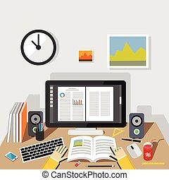 étudier, illustration., étudier, concept., plat, conception,...