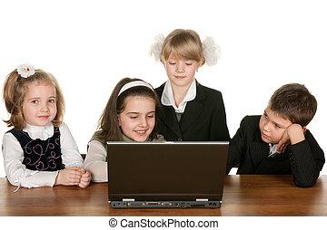 étudier, ordinateur portable, ensemble