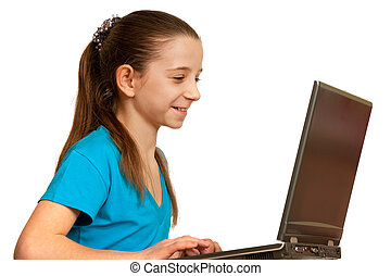 étudier, ordinateur portable, fille souriant, joli