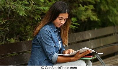 étudier, parc, étudiant