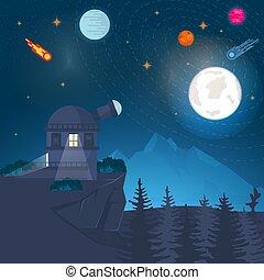 étudier, paysage, planète, vecteur, contre, conception, radio, fond, nature, télescope, plat, montagne, illustration, concept, espace, observatoire