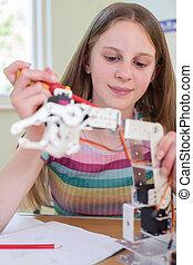étudier, pupille, leçon, robotique, femme, science