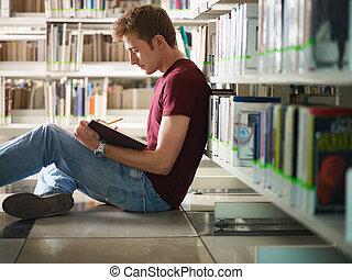 étudier, type, bibliothèque