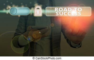 étudier, wishes., signe, conceptuel, projection, texte, success., route, photo, really, améliorer, portée, dur, vous-même, rêves