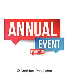 événement annuel, invitation, étiquette, vecteur
