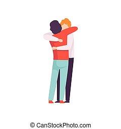 événement, concept, gens, autre, hommes, jeune, illustration, chaque, célébrer, vecteur, amis, embrasser, heureux, amitié, mieux, réunion
