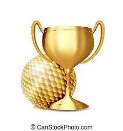 événement, doré, golf, cup., league., jeu, illustration, sports, invitation., récompense, vector., balle, advertising., sport professionnel, bannière, announcement., stadium.