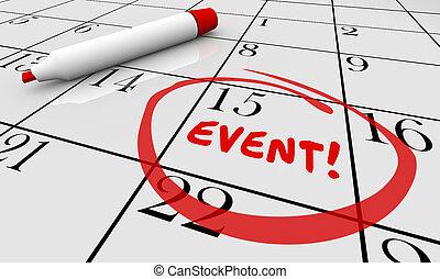 événement, fête, célébrer, célébration, calendrier, jour, date, 3d, illustration