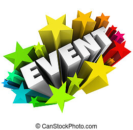 événement, mot, étoiles, fireworkds, publicité, spécial, exposition, performance
