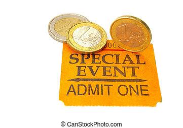 événement, talon ticket, à, euro, pièces
