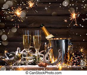 év, új, előest, ünneplés