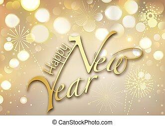 év, boldog, arany, bokeh, köszönés kártya, új