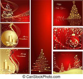 év, boldog, vidám christmas, új