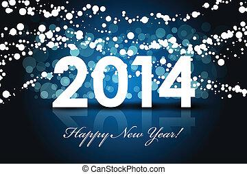 év, -, háttér, 2014, új, boldog