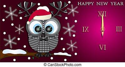 év, köszönés kártya, új, owl., csinos