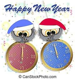 év, köszönés, owls., kártya, új, boldog