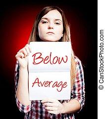 évaluation, au-dessous, moyenne, décue, femme