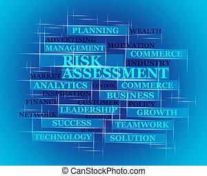 évaluation, concept, mot, risque, 3d
