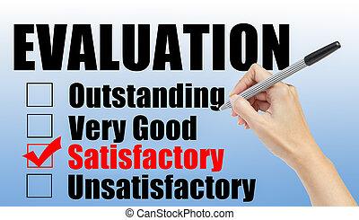 évaluation, formulaire, et, main, chèque, satisfaisant