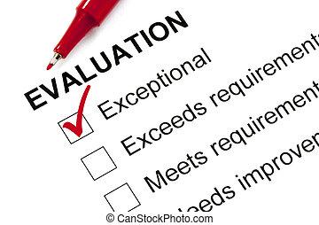 évaluation, formulaire, marqué, exceptionnel