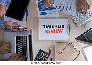 évaluation, inspection, revue, ligne, revues, temps, apurer, évaluation