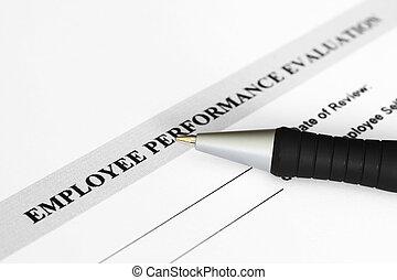 évaluation performances, employé