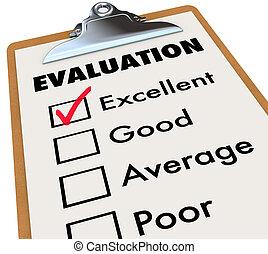 évaluation, rapporter carte, presse-papiers, évaluation,...
