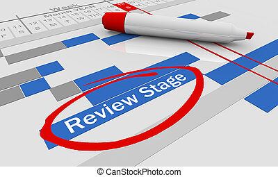 évaluation, revue, diagramme, illustration, gantt, étape, évaluation, 3d