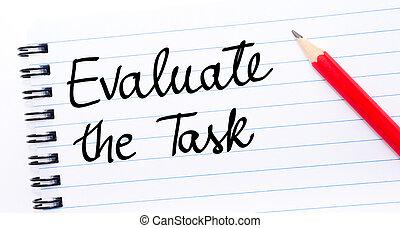 évaluer, écrit, tâche, page, cahier