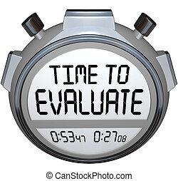 évaluer, minuteur, mots, temps, chronomètre, évaluation