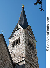 évangélique, paroisse, vue, hallstatt, église