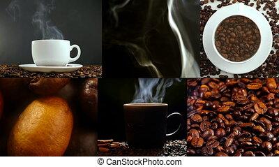 évaporation, tasse à café, bean., rôti, table, blanc, beans.