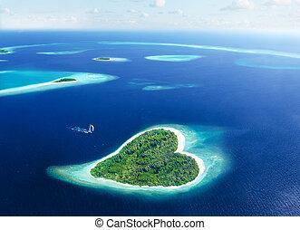évasion, dans, les, île, de, amour