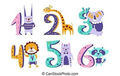 évforduló, zsiráf, csinos, számok, üregi nyúl, ábra, mosómedve, koala, oroszlán, állatok, gyerekek, vektor, macska