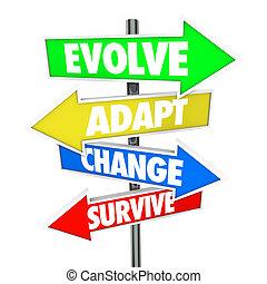 évoluer, évolution, autobus, adapter, flèche, signes, survivre, changement, adaptation