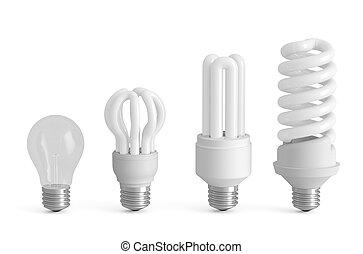 évolution, concept, lampes