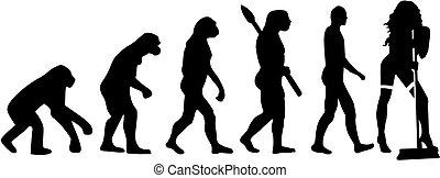 évolution, dame, nettoyage, chaud