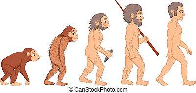 évolution, dessin animé, humain